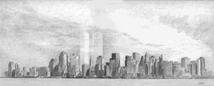 Pencil Paintings - Graphite Paintings - Pencil Cityscape of New York Skyline